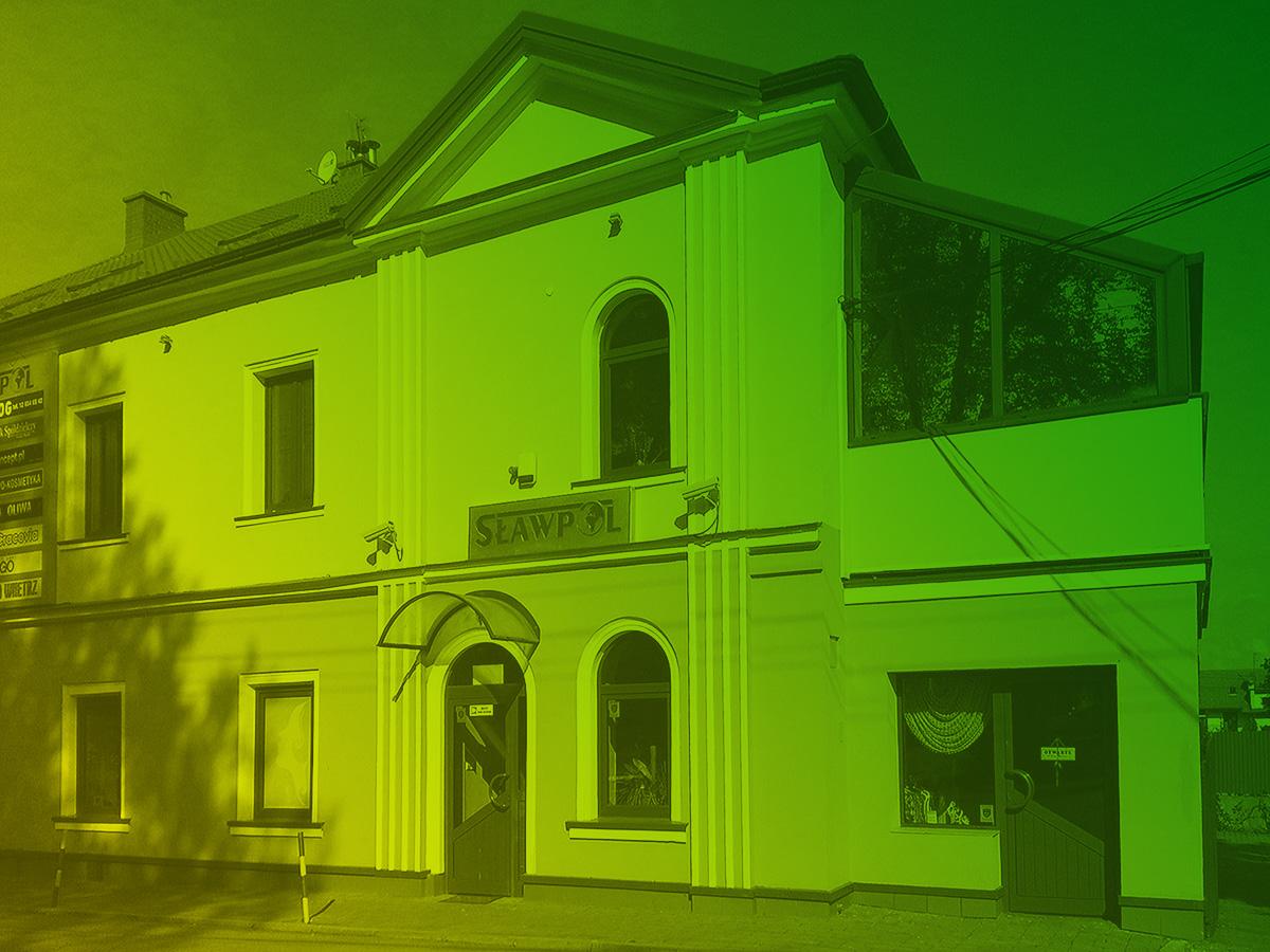 Siedziba firmy SŁAWPOL - zdjęcie z zielono-żółtym gradientem